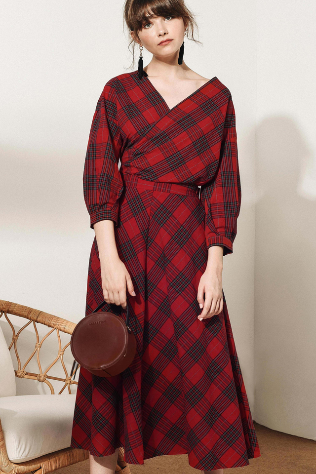 ENID PLAID MAXI IN RED