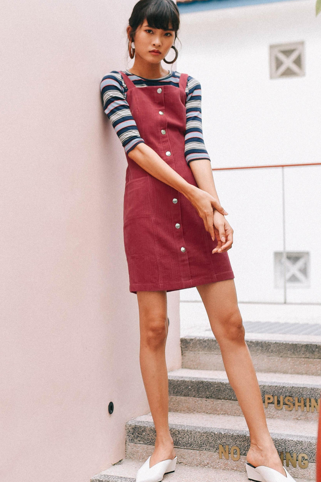 CORDUROY BUTTONED DRESS IN SCARLET