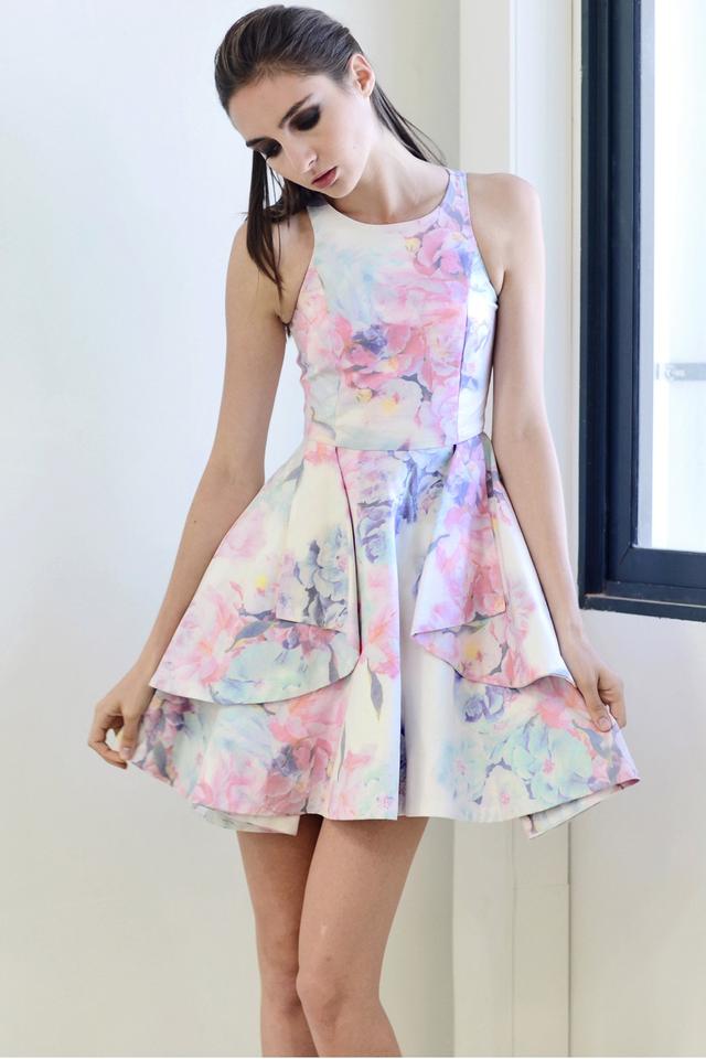 *PREMIUM**BRIDGE* Origami Fold Dress in Florals