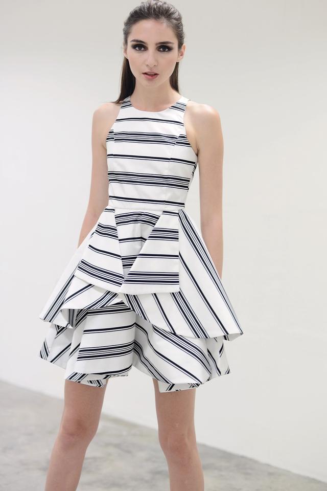*PREMIUM**BRIDGE* Origami Fold Dress in Stripes White