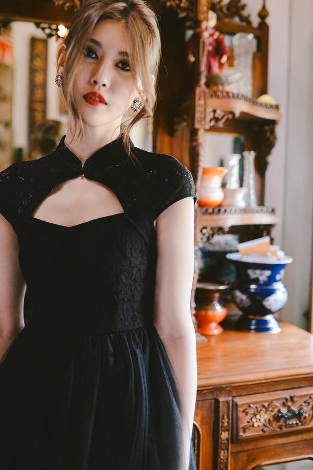 *BRIDGE* Cheongsam Tulle Dress in Black