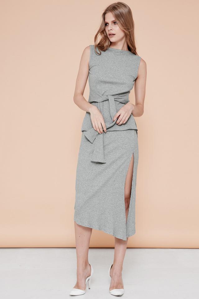 *BRIDGE* Kendall Slit Skirt in Grey