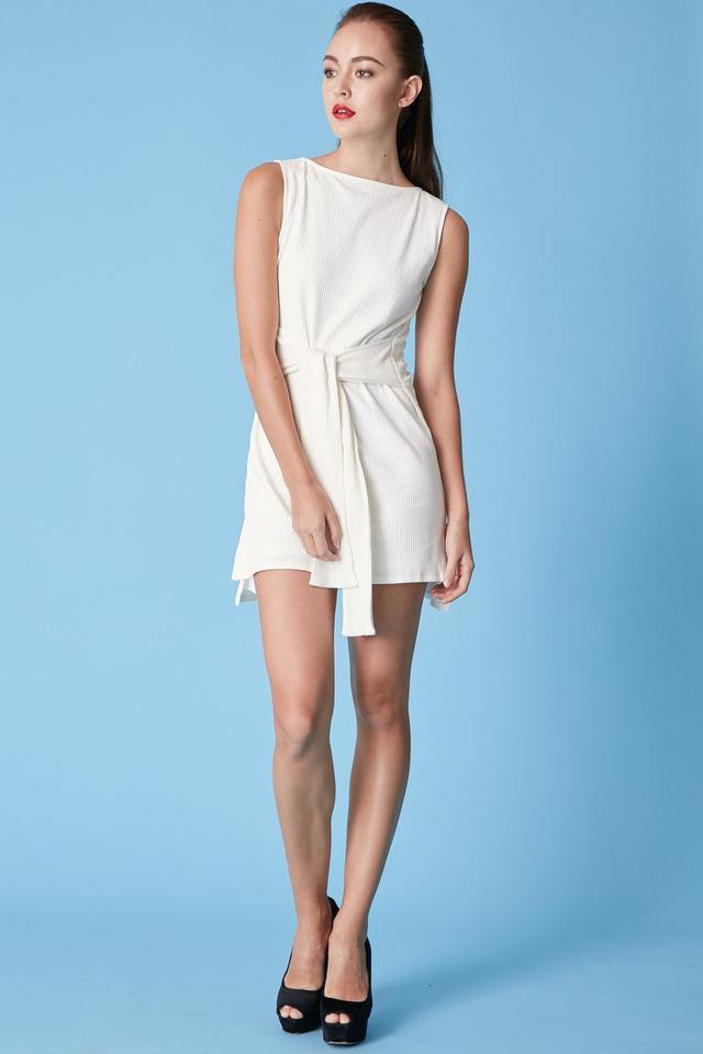 *BRIDGE* Tie Front Dress in White