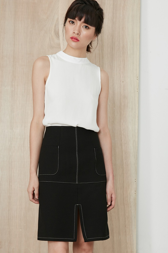*BRIDGE* Channing A-Line Skirt in Black