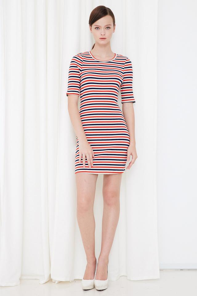 *BRIDGE* Yacht Knitted Dress in Orange Navy